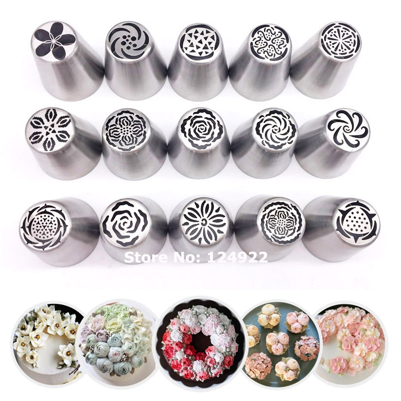 Wholesale 10 Sets 15Pcs Set Stainless Steel Russian Tulip Icing Piping Nozzles Tips Pastry Fondant Cake