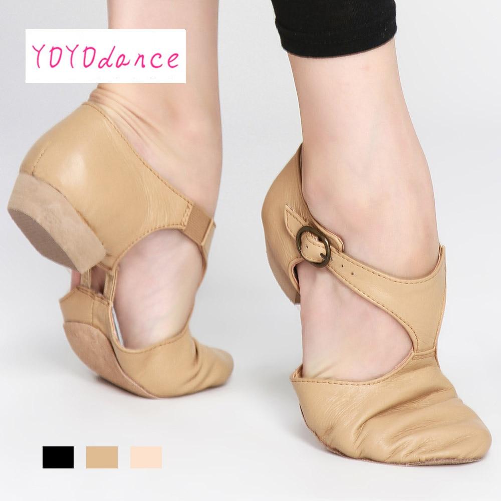 black-tan-pink-leather-teacher-jazz-dance-sandal-shoes-for-teachers-professional-sandals-shoes-jazz-