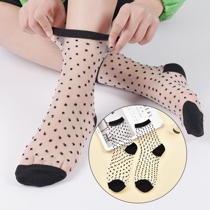 Women Fashion Harajuku Thin Ankle Socks Female Summer Art Hot Sale Hipster Glass Transparent Stripe Short Socks