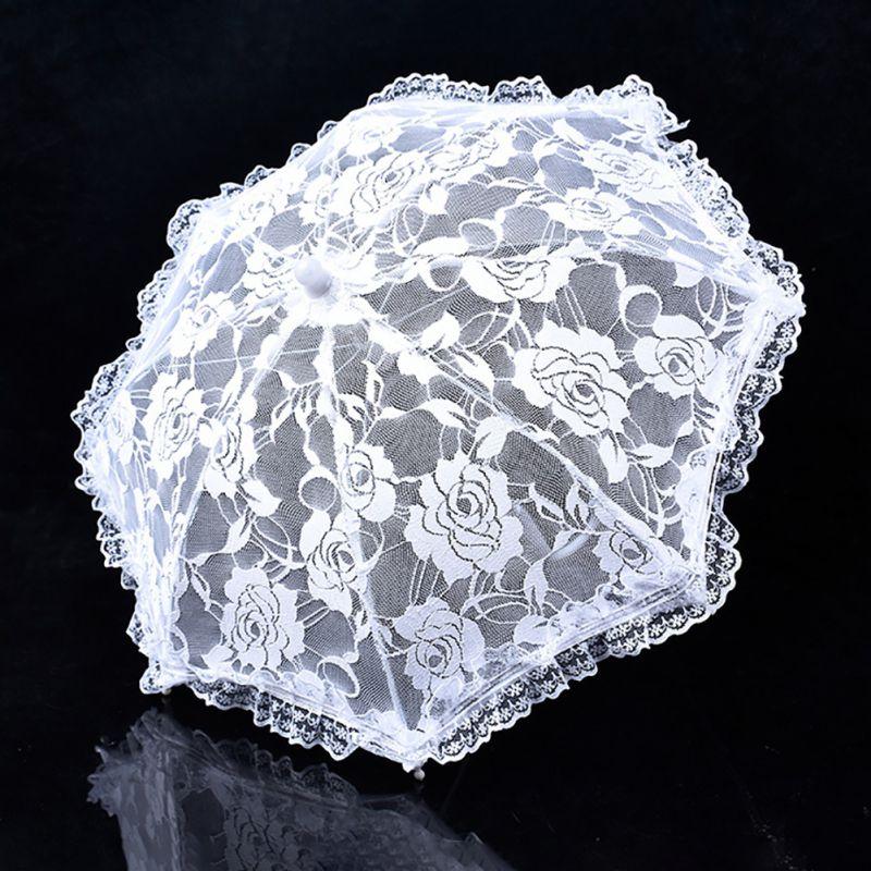 Branco Bordado Artesanal Noiva Mão Sombrinha de Renda Guarda-chuva Do Laço Acessórios De Noiva