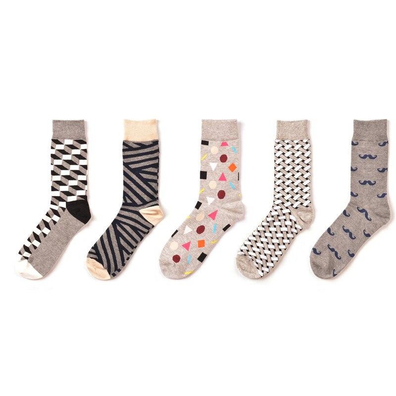 5 Pairs/lot New Arrival Men Happy Socks Zebra Geometry Mustache Hip Hop Funny Fashion Socks Street Wear Dress Pack Winter