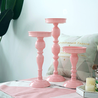 European pink candle holders wedding decorations candlesticks iron Cake stand dessert home table flower vase storage rack ZT147B