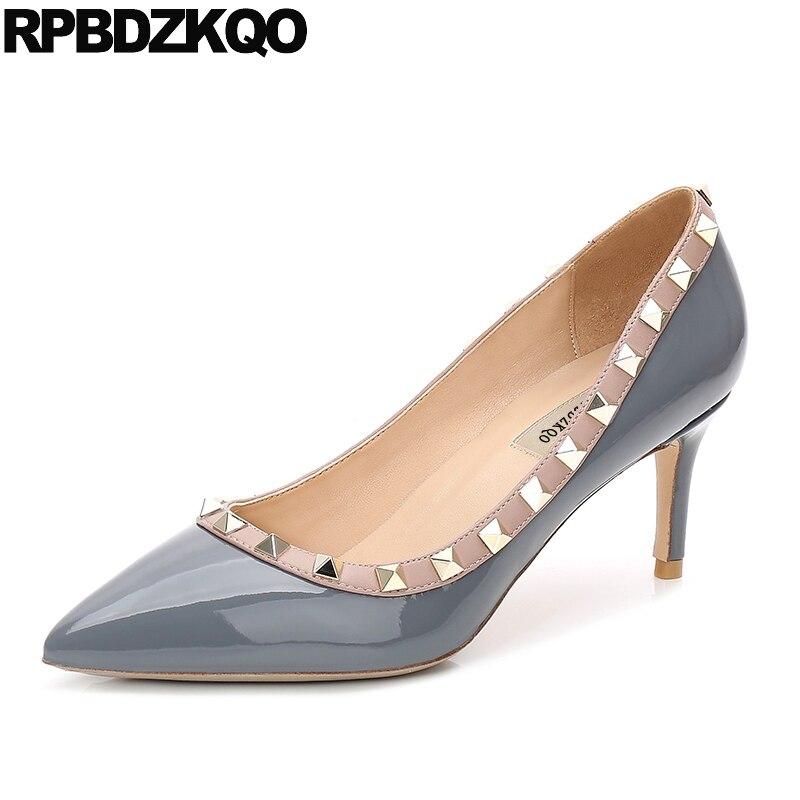 купить Size 33 Scarpin Big Italian Pointed Toe Jewel Nude Rivet Genuine Leather 10 42 Patent Pumps Women Grey Shoes High Heels Stud недорого