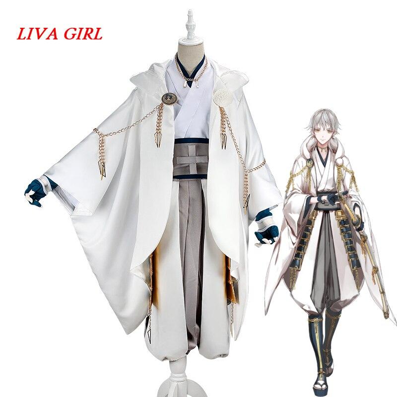 Liva girl Лидер продаж Tsurumaru Kuninaga Косплэй полный набор игры Touken Ranbu Online белый Самурай костюмы из полиэстера