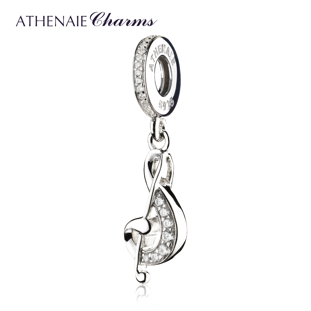 ATHENAIE 925 Sterling Silver Pave Clear CZ Sweet Music Treble Clef Pendant Necklace Charms DIY Jewelry