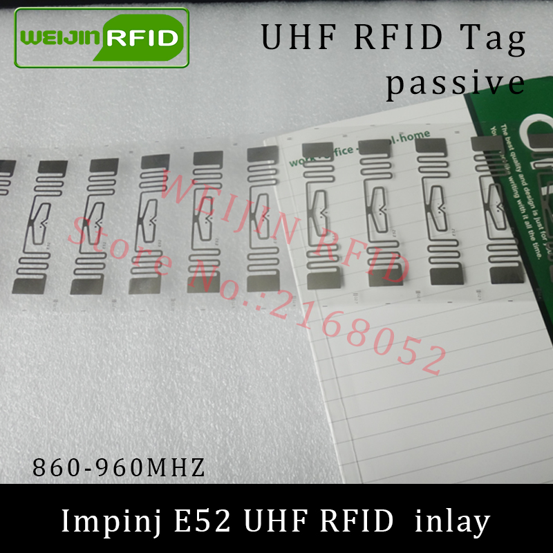 UHF RFID tag Impinj E52 dry inlay 915mhz 900mhz 868mhz 860-960MHZ  EPCC1G2 ISO18000-6C smart card passive RFID tags label 860 960mhz long range passive rfid uhf rfid tag for logistic management