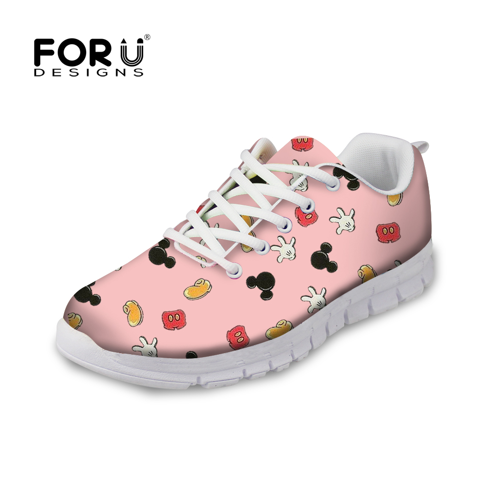 FORUDESIGNS Pink Cute Women Flats Shoes Sneakers Spring Fashion Lace-up Comfortable Shoes for Women Flat Woman Zapatos 2018 forudesigns casual women flats shoes woman fashion graffiti design autumn lace up flat shoe for teenage girls zapatos mujer 2017