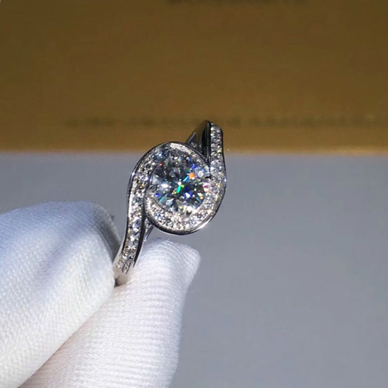 0 5ct Carat Moissanite Engagement Rings for Women 925 Sterling Silver Platinum Plated Rings D Color VVS1 CLARITY in Rings from Jewelry Accessories