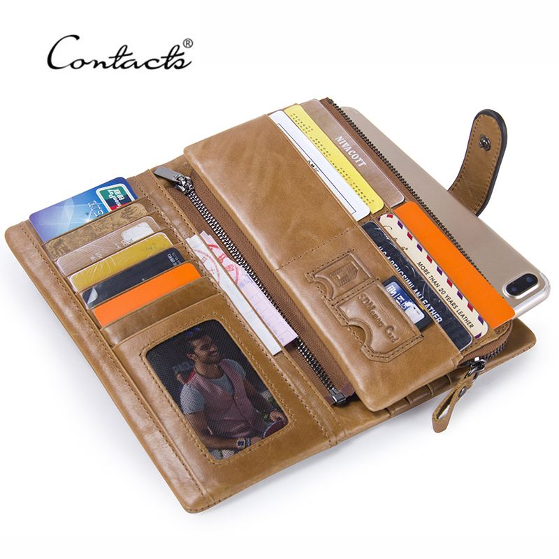 CONTACT'S Retro Luxury Genuine Leather Women Men Wallets High Quality Brand Design Zipper Wallet Womens Purses For Card Holders