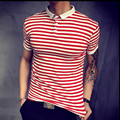 2017 new spring summer striped men's polo shirt polo homme casual plus size polo men cheap-clothes-china