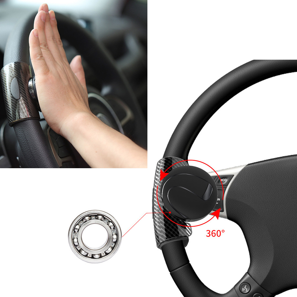 Car Steering Wheel Spinner Knob Auxiliary Booster Aid Control Handle Grip Black Steering Wheel Knob Ball Turning Assistant Electric Vehicle Parts