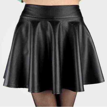 Detalle Comentarios Preguntas sobre Señora falda de cintura alta negro rojo  doblado mini Falda Mujer talla grande S M L sexy faldas de cuero envío  gratis ... e4dcc26795be