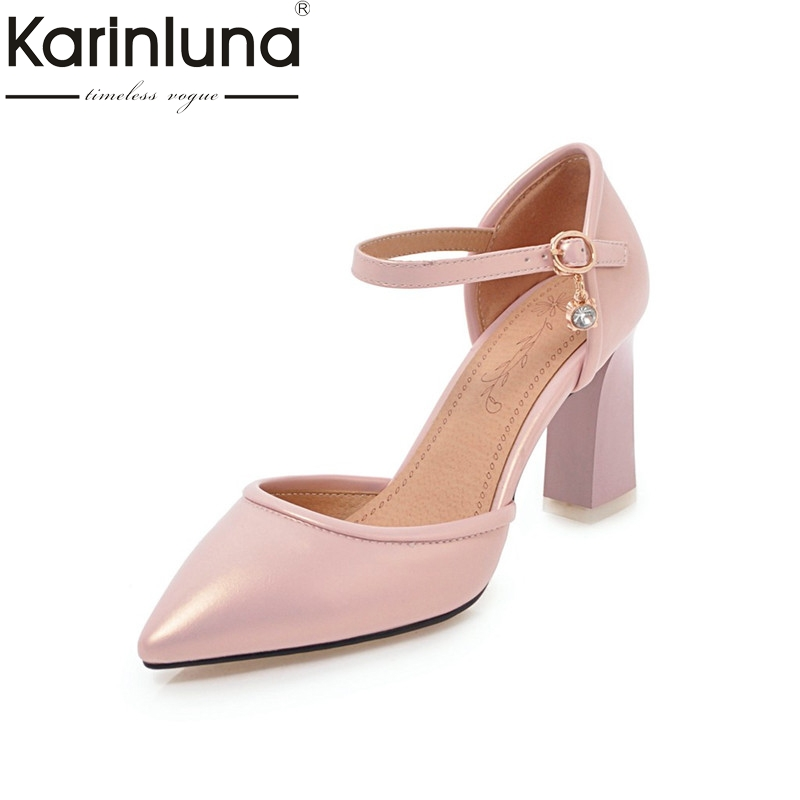 Karinluna Women's Mary Jane Buckle Up Square High Heels Summer Shoes Woman Pointed Toe Less Pumps Big Size 31-46 pearl high heels shoes thick green women strange suede abnormal catwalk genuine leather pointed toe strap mary jane lace up
