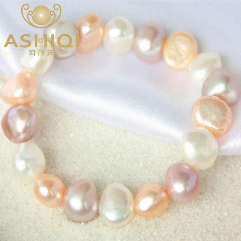 ASHIQI Naturlig farverig barok perle armbånd, ferskvandsperle - Smykker - Foto 2
