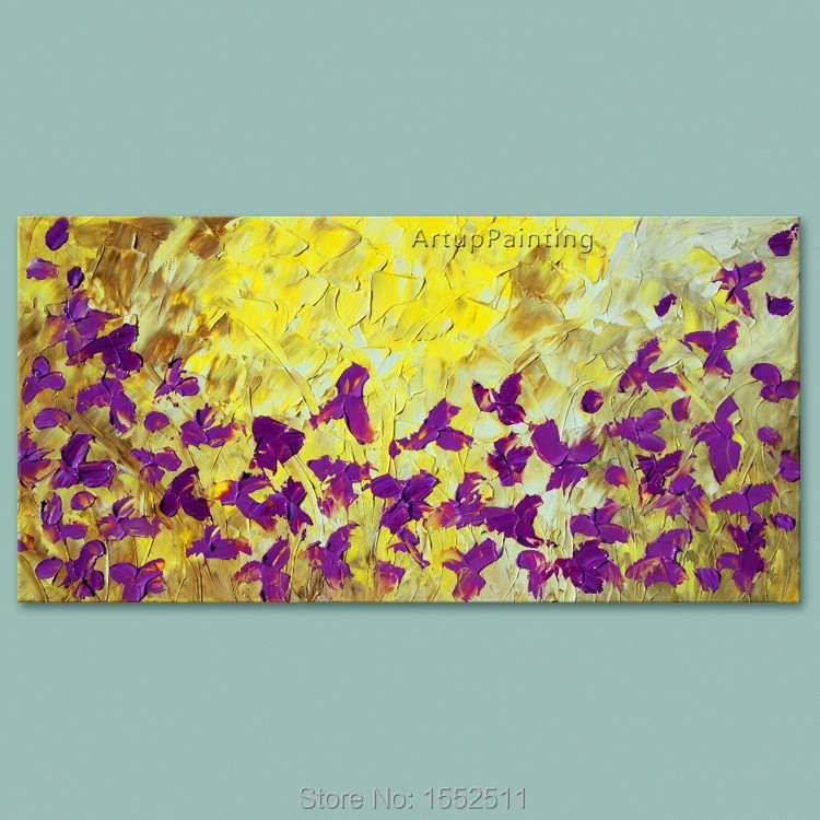 Purple Flower Oil Painting Abstract Wall Art Picture: Aliexpress.com : Buy Hand Painted Palette Knife Flowers