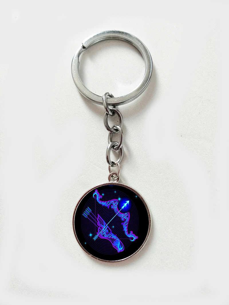 12 Созвездие Galaxy, художественный брелок с изображением весы, Скорпиона, стрелца, стеклянный драгоценный камень, брелок, Зодиак, подарок на день рождения