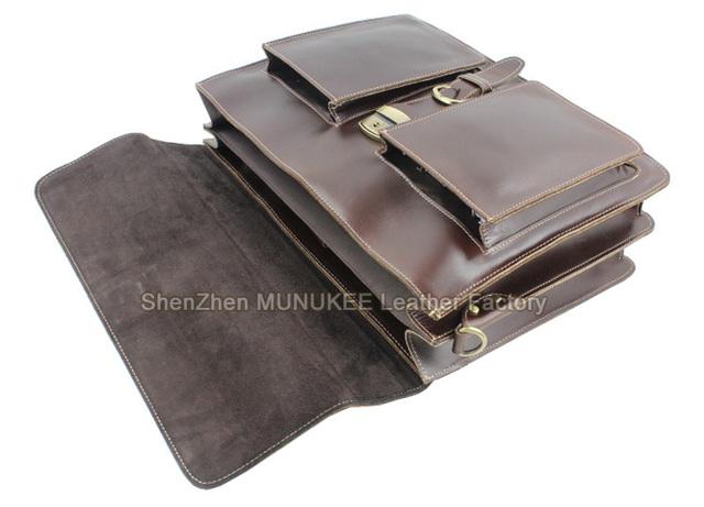 Luxury Genuine Leather Men Briefcase Leather Briefcase Men laptop Bag 15 6 Brief case Big Business Bag male Office Bag Work Bag