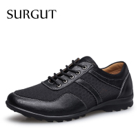 SURGUT Summer Men Shoes 2017 Fashion Men Loafers Original Brand Cool Mesh With Leather Moccasins Casual