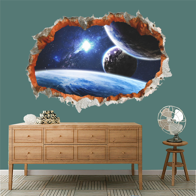3d effect outer space planet through wall stickers for for Wall decor outer space