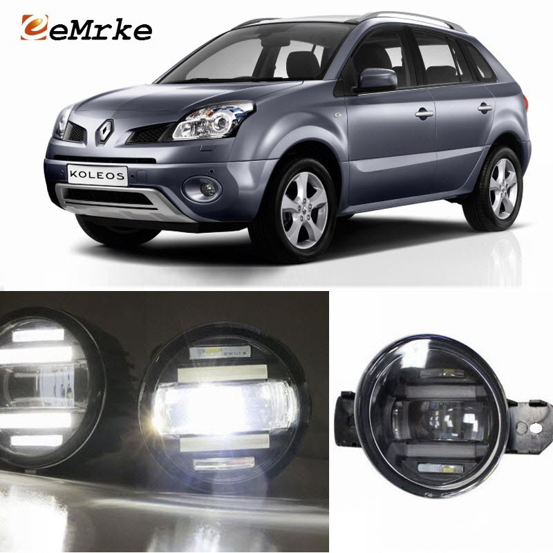 eeMrke Xenon White High Power 2in1 LED DRL Projector Fog Lamp With Lens For Renault Koleos Samsung QM5 2008-2011 eemrke xenon white high power 2in1 led drl projector fog lamp with lens for suzuki sx4 2008 2016