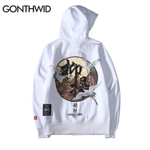 GONTHWID Embroidery Japanese Cranes Pullover Hoodies Men 2020 Winter Hip Hop Male Casual Hooded Sweatshirts Streetwear