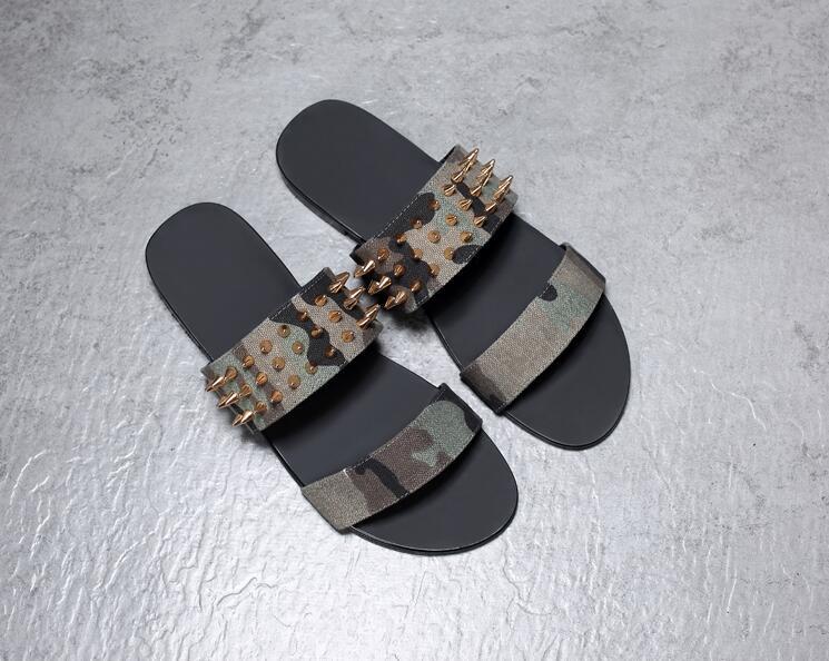 Genuine Leather Summer Men's Sandals Narrow Band Slipper Rivets Slip-On Flats Moccasins Seaside Casual Shoes Camouflage Scfuus цена