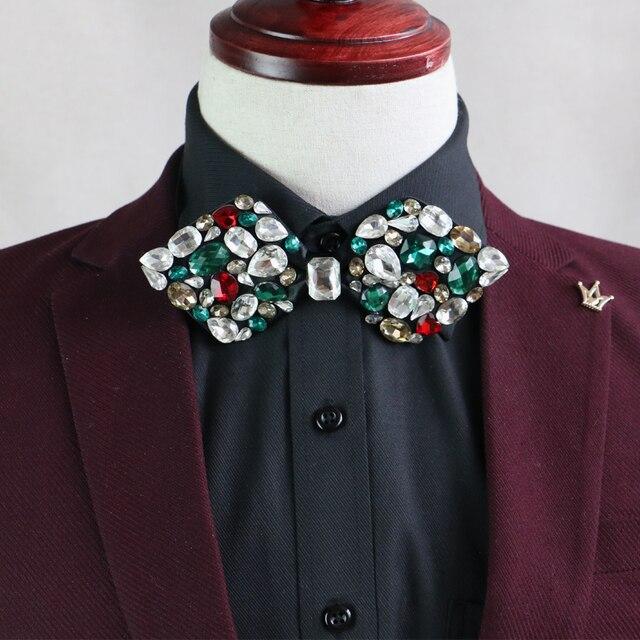New Free Shipping fashion Men's male wedding 2016 full diamond Groomsmen presided official marriage bow Metrosexual tie on sale