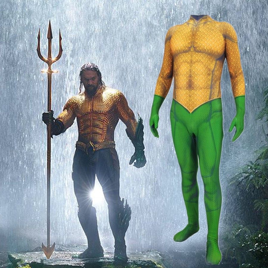 Aquaman Cosplay Jumpsuits Arthur Curry Orin Cosplay Costume Halloween Adult Kids Bodysuit  Zentai