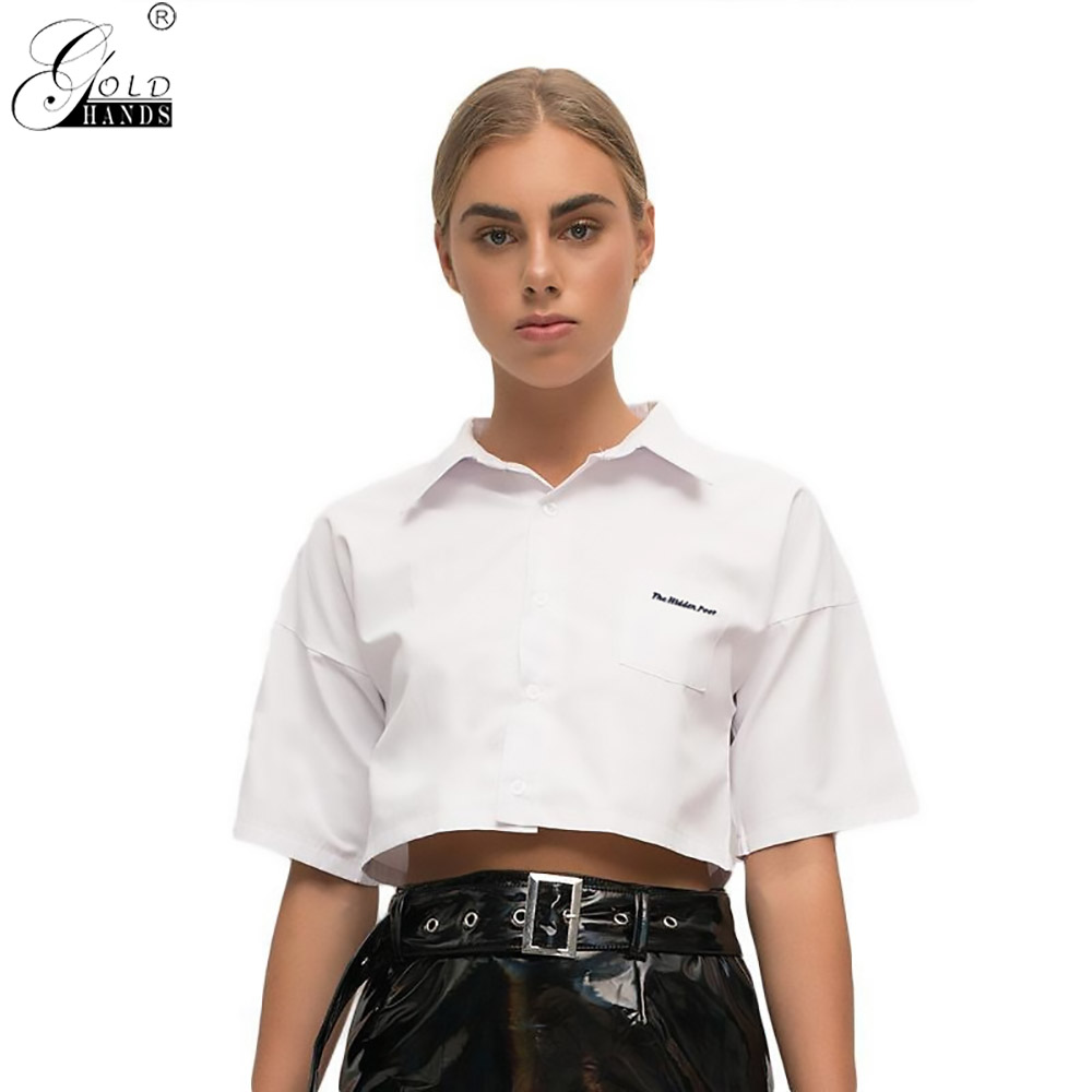 Gold Hands Spring Women's New Clothes Solid White Color Short Sleeve Turn-down Collar Navel Show Cardigan T-Shirts Cotton Tops