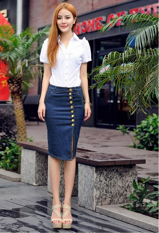 Plus Size Women Summer denim skirts 2015 Saia womens pencil button ...