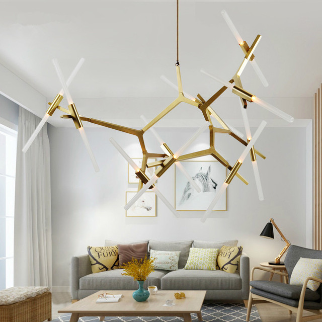 modern nordic rollhill agnes lindsey led herringbone branch pendant light restaurant cafe bar living room hanging - Living Room Pendant