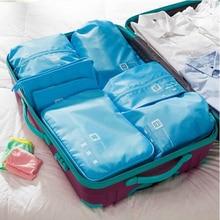 050 7PCS Мода Портативная сумка для путешествий Многофункциональная одежда Обувь Косметика Категории Органайзер дорожная сумка