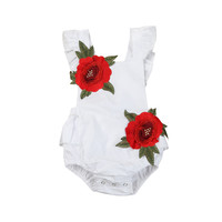 Newborn Baby Girls Romper Flower Roses Decals Toddler Kids Baby Girls Clothes Flower Backless Baby Romper