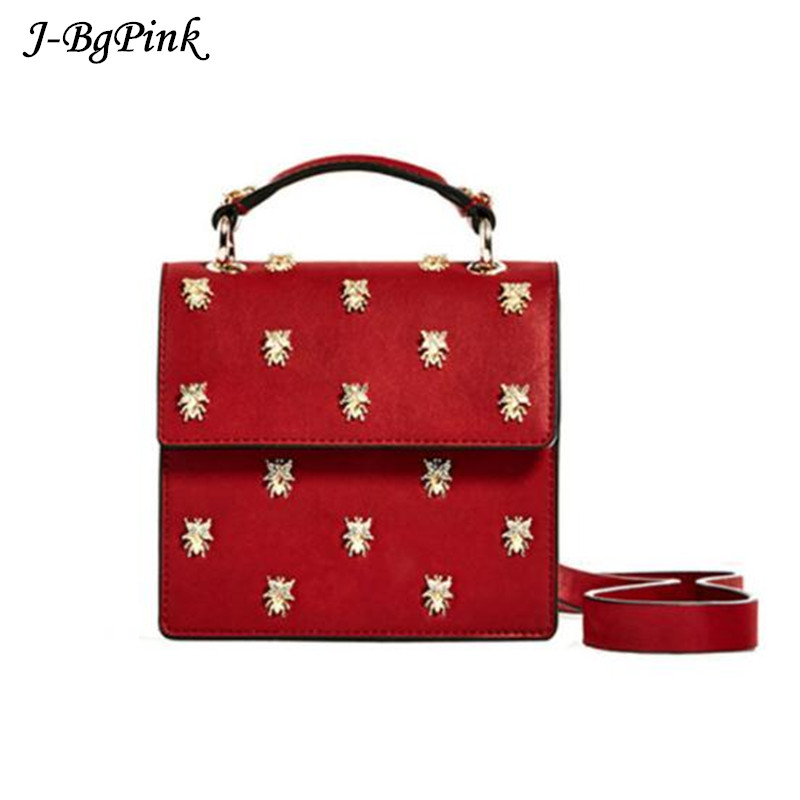 2017 Red Handbags Insect rivets Clutch Bag Luxury Designer Women Messenger Bags High quality leather material handbag Tote sac