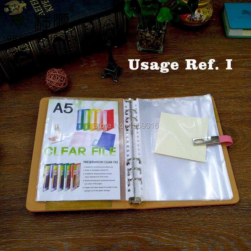 Кожаная папка-скоросшиватель для блокнота А5, деревянная прожилка, Кожаная Обложка, прозрачная ручка, сумка, цветная наклейка, мягкая линейка, подарочный набор