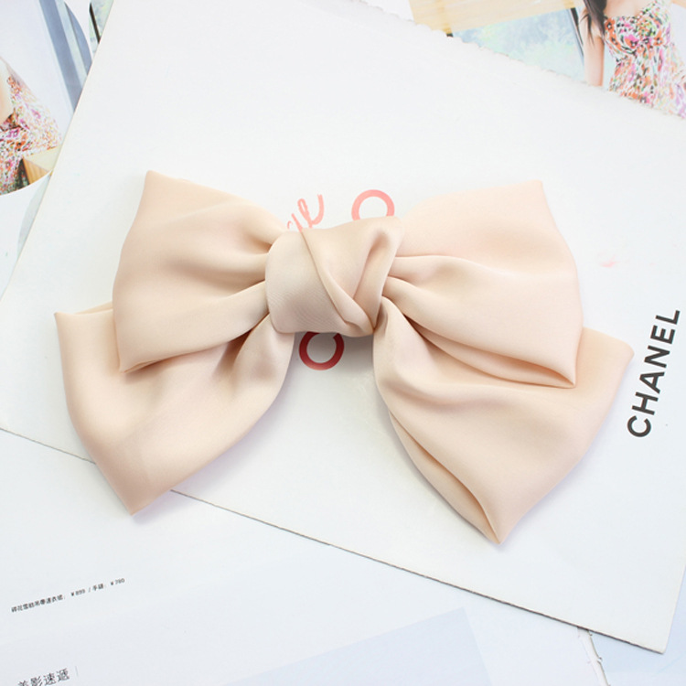 6pcs Quality Big Large Beautiful Girls Silk Bow Barrette Hair Clips Women Hair Accessories