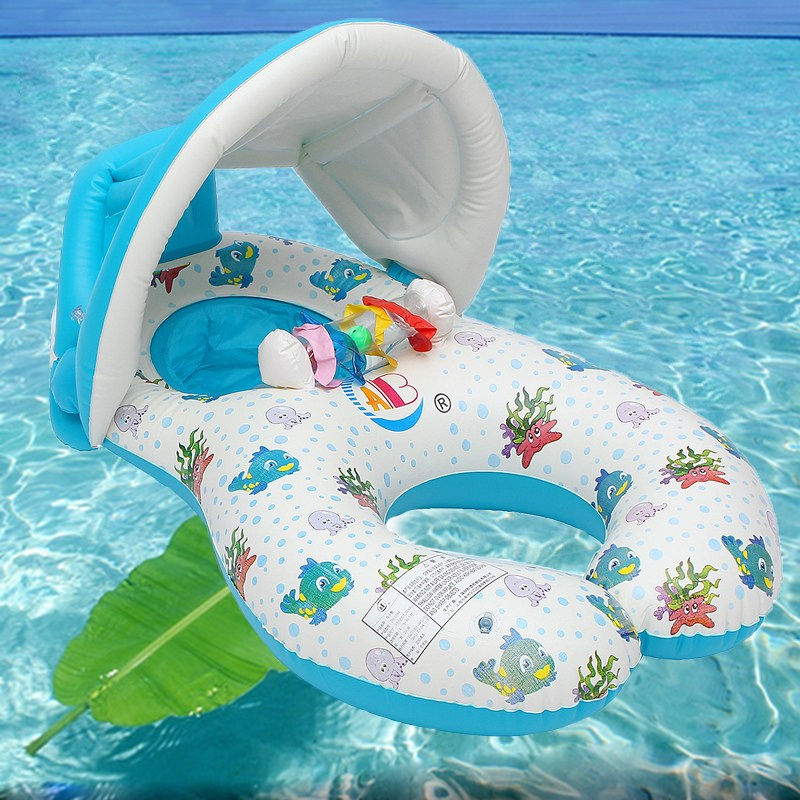 Baby Inflatable Pool Float Neck Ring With Subshade Mother Children Swim Circle Inflatable Safety Swimming Ring Float Seat baby pool floats kids safety swimming pool seat toys children swim circle new arrival baby inflatable boat