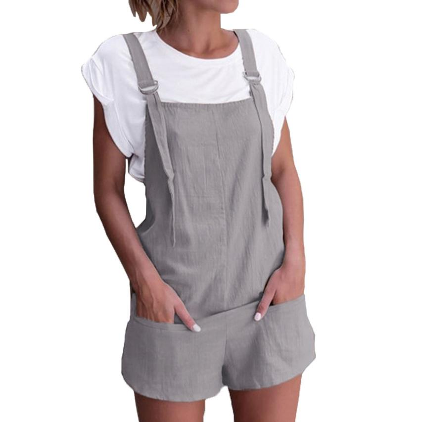 468b108506 Women elastic waist dungarees linen cotton pockets rompers playsuit shorts  pants overalls rompers combinaison femme