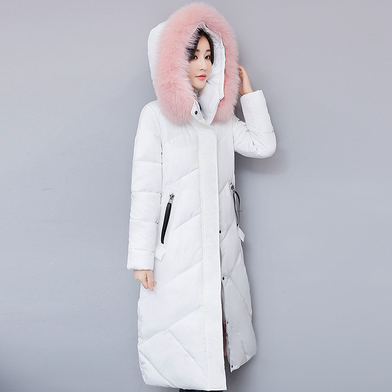 2017 Winter New Cotton Clothing Long Section Thick Down Jacket Loose Large Hair Collar Clothing Winter Coat Women Outwear Coat winter feather cotton women outwear long section thick section slim hooded coats large fur collar large size down jacket lx165