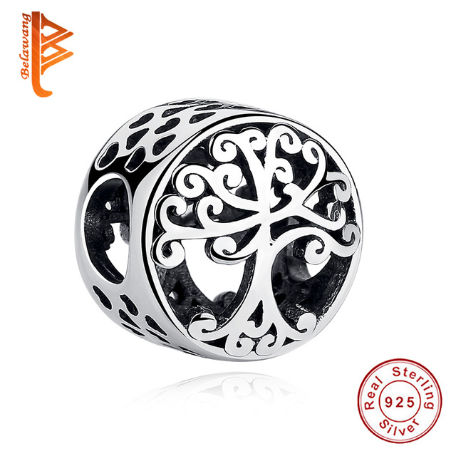 BELAWANG 925 Sterling Silver Family Tree Charm Round Shape Beads fit  Charms Silver 925 Original Jewelry making