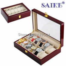 12 Grids Brand Wood Watch Storage Boxes Case New Light Red Watch Organizer Holder Jewelry Storage Gift Boxes Case