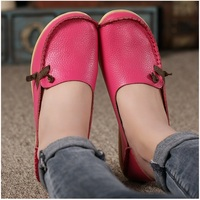 Women Flats Genuine Leather Fashion Lace Up Flat Women Shoes Peas Non Slip Outdoor Shoes Plus
