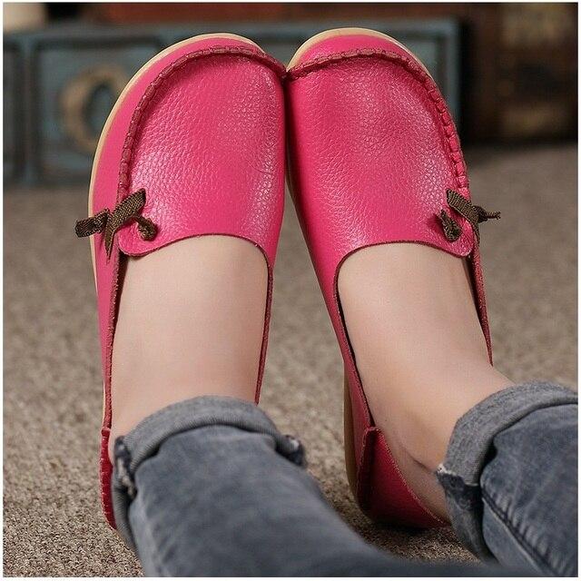 Mujeres pisos Cuero auténtico moda Encaje hasta las mujeres planas Zapatos antideslizante al aire libre Zapatos más tamaño 34-44