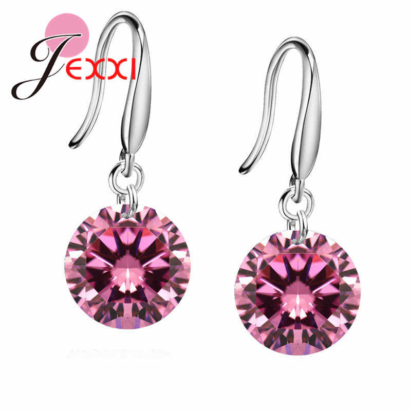 Big Promotions Genuine 925 Sterling Silver AAAA Crystal Shiny Cubic Zirconia Woman Girl Candy Hook Dangle Earrings
