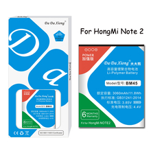 Original Da XiongLithium Polymer Battery BM45 For Xiaomi RedMi Note2  Hongmi Red Rice Note 2 3060mAh Replacement Batteries