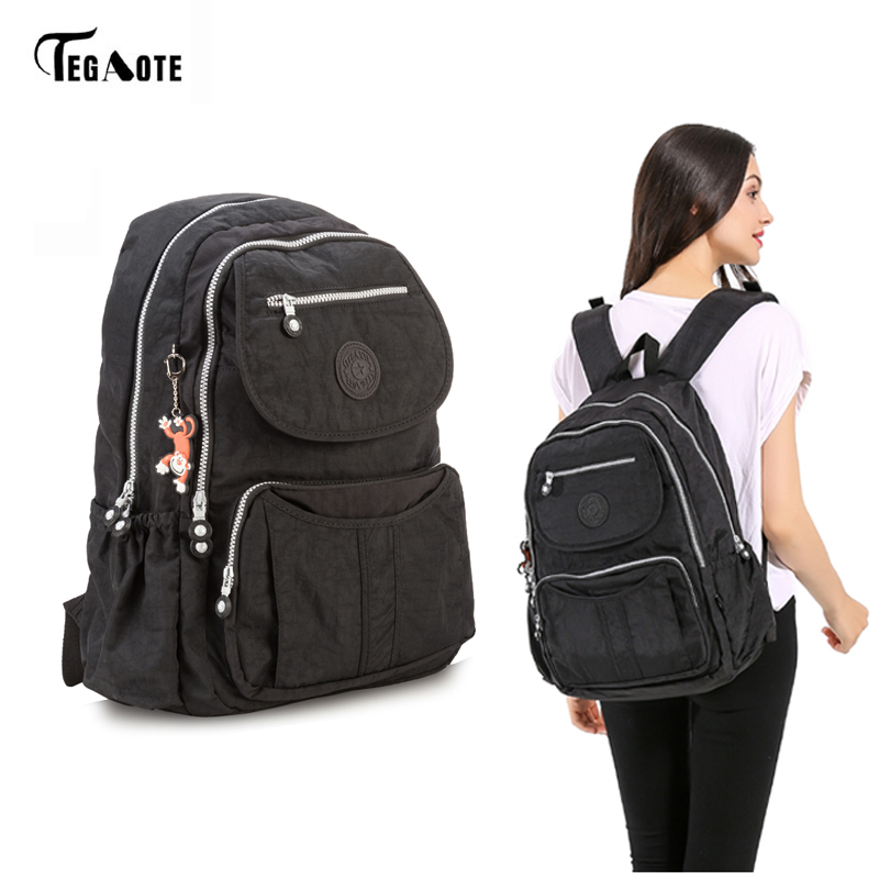 TEGAOTE Classic Big School Backpack for Teenage Girls Mochila Feminine Backpacks Women Solid Famous Nylon Casual Laptop Bagpack tegaote classic mini school backpack for teenage girls casual backpacks female women brand nylon laptop bagpack shoulder bags