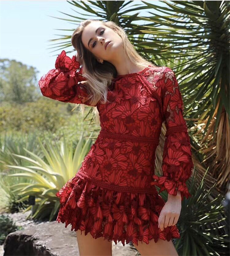 2018 winter new arrive red lace dress