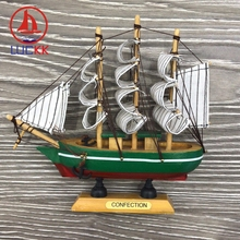 LUCKK 16CM Mediterranean Style Wooden Model Ships Green Home Interior Decoration Wood Crafts Room Miniature Sea Sailboat
