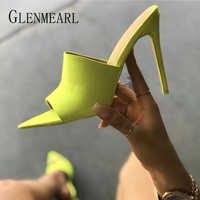 女性スリッパミュール靴ハイヒールの夏の靴のぞき見つま先女スライド屋外女性サンダルプラスサイズパーティー shoesDE