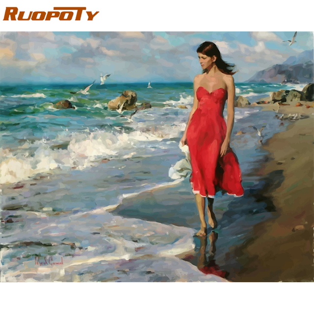 RUOPOTY Frame Seaside Girl DIY Painting By Numbers Figure Acrylic Paint By Numbers Modern Wall Art Picture For Home Decors 40x50